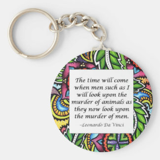 Leonardo Da Vinci vegetarian quote Basic Round Button Keychain
