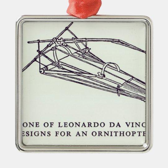 Leonardo da Vinci's designs for an Ornithopter Metal Ornament