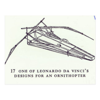 Leonardo da Vinci's designs for an Ornithopter Postcard