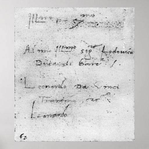 Leonardo da Vinci's handwriting Print