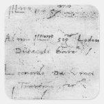Leonardo da Vinci's handwriting Square Sticker
