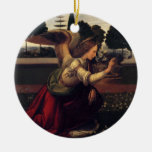 Leonardo DaVinci Annunciation - Angel Double-Sided Ceramic Round Christmas Ornament