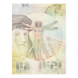 Leonardo DaVinci Vitruvian Man Collage Postcard
