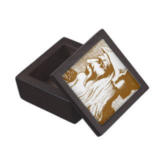 Leonardo DaVinci wood cut portrait gift box
