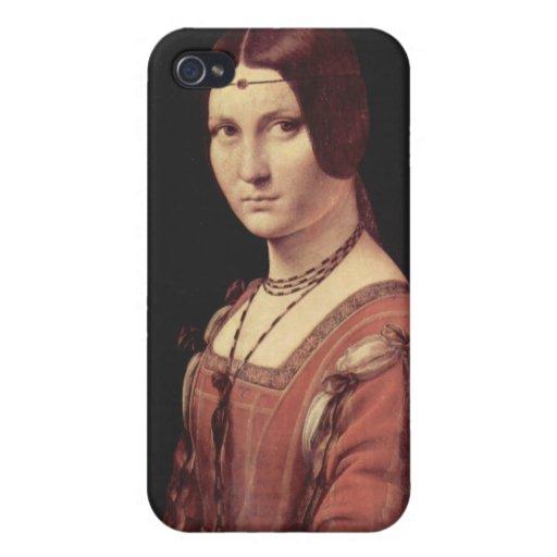 Leonardo de da Vinci - Ferronnière de la belleza d iPhone 4/4S Carcasas