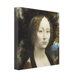 Leonardo Di Vinci Ginevra de' Benci Vintage Paint Canvas Print