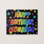 "[ Thumbnail: ""Leonardo"" First Name, Fun ""Happy Birthday"" Jigsaw Puzzle ]"