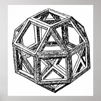 Leonardo Polyhedra Shape Poster