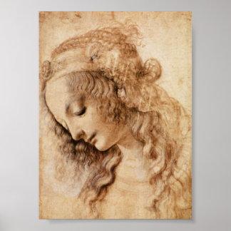 Leonardo Sketch of a Woman's Head Print