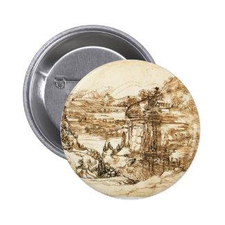 Leonardo Vinci- Landscape drawing for Santa Maria Pinback Buttons