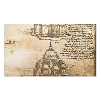 Leonardo Vinci- Studies of central plan buildings Business Card Templates
