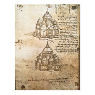 Leonardo Vinci- Studies of central plan buildings Post Card