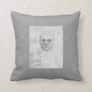 Leonardo Vinci:Study on proportions of head,eyes Throw Pillow