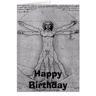 Leonardo-vitruvian, feliz cumpleaños tarjeta de felicitación