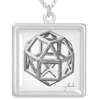 Leonardo's Polyhedra Square Pendant Necklace