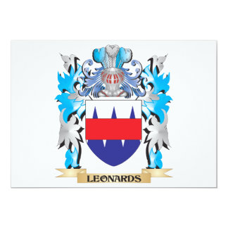 Leonards Coat of Arms - Family Crest 5x7 Paper Invitation Card