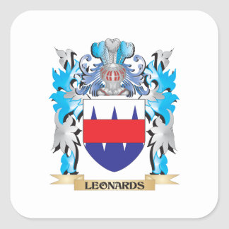 Leonards Coat of Arms - Family Crest Square Stickers