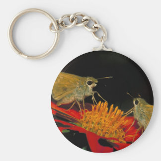 Leonard's skipper butterfly on Mexican sunflower Keychain