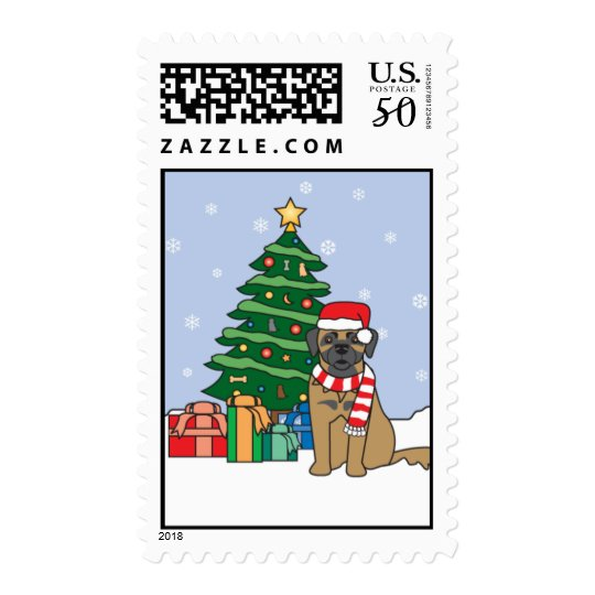 Leonberger and Christmas Tree Postage