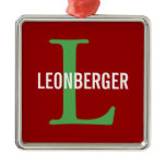 Leonberger Breed Monogram Design Metal Ornament