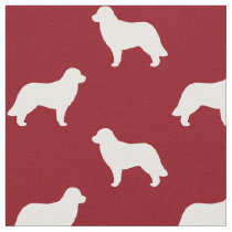 Leonberger Dog Silhouettes Pattern Red Fabric