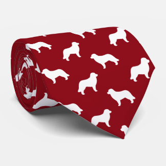 Leonberger Dog Silhouettes Pattern Red Neck Tie