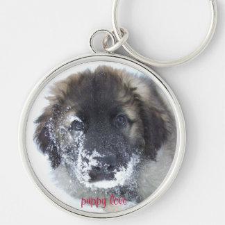 Leonberger puppy love Silver-Colored round keychain