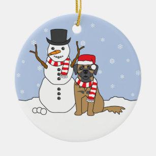 Leonberger & Snowman Ornament