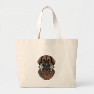 Leonberger with dumbbell large tote bag