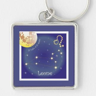 Leone 23 peeping Lio Al of 22 agosto key supporter Silver-Colored Square Keychain