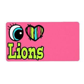 Leones brillantes del amor del corazón I del ojo Etiquetas De Envío