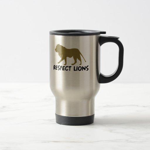 Leones del respecto taza de café