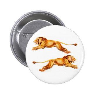 leones en los propósitos cruzados pin redondo de 2 pulgadas