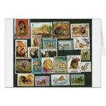 Leones en sellos tarjeta de felicitación