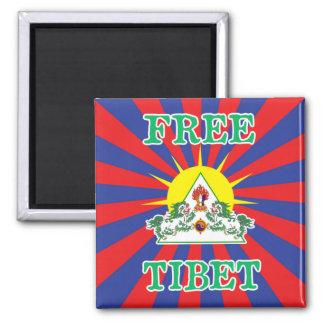 Leones libres de la nieve de Tíbet y símbolo de Imán Cuadrado