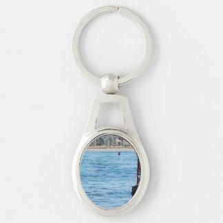 Leones marinos de la boya llavero plateado ovalado