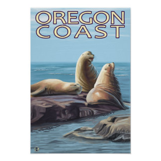 Leones marinos de la costa de Oregon Póster