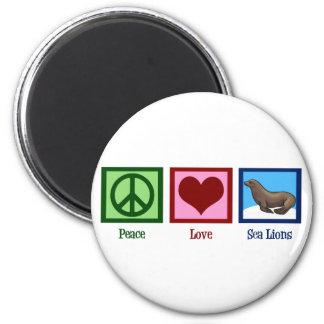 Leones marinos del amor de la paz imán redondo 5 cm