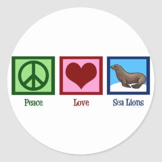 Leones marinos del amor de la paz pegatina redonda