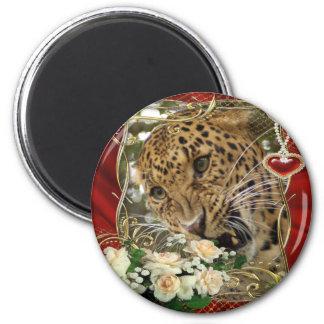 leopard-00295 2 inch round magnet
