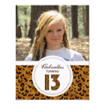 """Leopard 13th Birthday: Picture:Party Invitation 4.25"""" X 5.5"""" Invitation Card"""