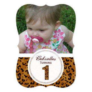 Leopard 1st Birthday: Picture:Party Invitation