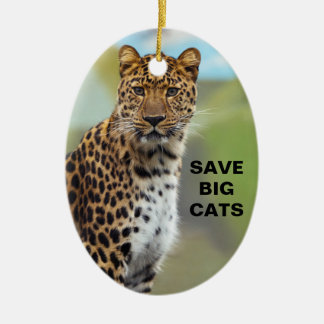 Leopard 2 Double-Sided oval ceramic christmas ornament