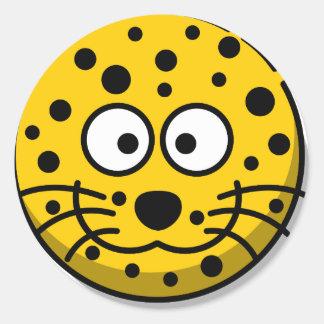 leopard-30877 classic round sticker