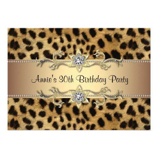 Personalized Leopard birthday party Invitations – Animal Print Party Invitations