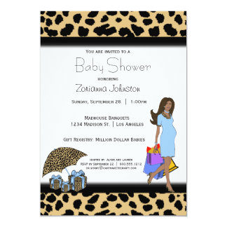 Leopard And Blue Print African American Mommy 5x7 Paper Invitation Card