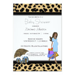 Leopard And Blue Print African American Mommy Personalized Announcements