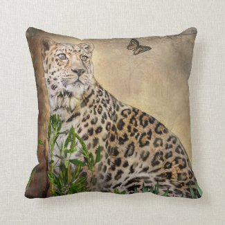 Leopard and Butterfly Throw Pillow