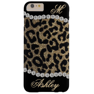 Leopard and Diamond Monogram Barely There iPhone 6 Plus Case