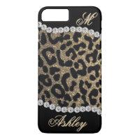 Leopard and Diamond Monogram iPhone 7 Plus Case